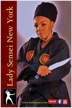 Lady Sensei New York Ninjutsu. She holds a 3rd Dan from Way of The Winds Martial Arts System, Professor Ronald Duncan, O Sensei. and a 2nd Dan from the Vee Arnis Jitsu School of Self Defense under Shihan Scott Stewart. www.ladysensei.com, Facebook and Youtube Channel.