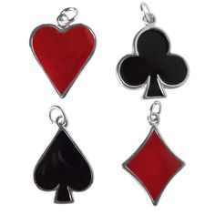 Sterling Silver and Enamel Playing Card Suit Charms Heart Club Diamond Spade | Silver Star Charms