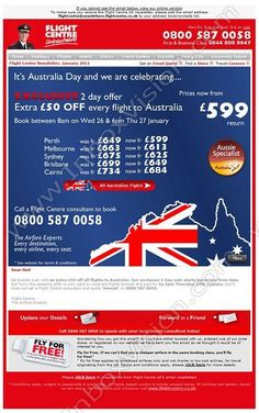 Company:  Flight Centre (UK) Ltd.   Subject:  Happy Australia Day               INBOXVISION providing email design ideas and email marketing intelligence.     http://www.inboxvision.com/blog  #EmailMarketing #DigitalMarketing #EmailDesign #EmailTemplate #InboxVision #Emailideas #NewsletterIdeas