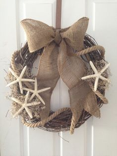 Burlap, rope, starfish summer beach wreath.  MLK