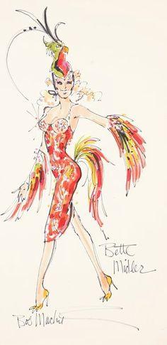 Bob Mackie's costume sketch for Bette Midler.