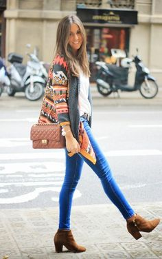 Southern charm blog. Jeans and white tshirt with camel booties and bag and tribal jacket