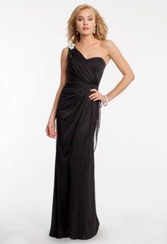 One Shoulder Jersey Dress wth Rhinestone Brooch   Camillelavie.com #oneshoulder #weddings #bridesmaid #dresses #rhiestone #sparkle