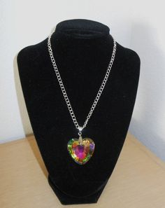 be6f5a70e Glowing Heart crystal pendant in vitrail with aurora borealis coating/neck  chain included,womens necklace.Crystal heart pendant in vitrail