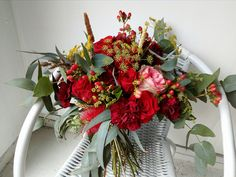 flowerpotts.co.nz Florist Hawera Bouquet red pink eucalyptus