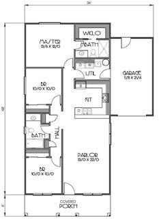 Cottage Style House Plan - 3 Beds 2 Baths 1152 Sq/Ft Plan #423-57 Floor Plan - Main Floor Plan - Houseplans.com
