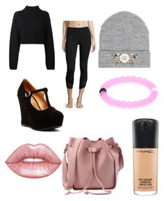 """nero rosa e grigio"" by moda-makeup ❤ liked on Polyvore featuring interior, interiors, interior design, home, home decor, interior decorating, Top Guy, DKNY, Alo Yoga and River Island"