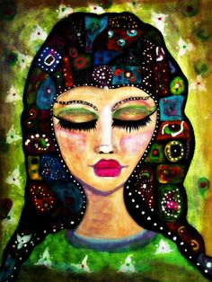 Meditation - Whimsical woman fine art print of painting by Sanoe Watt