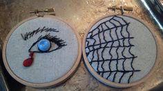 Poe Blue Eye Halloween decor Creepy Hand Beaded Vintage Button