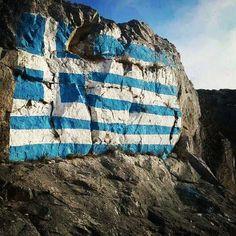 Greek flag on the mountain-   elgreekos's photo on Instagram