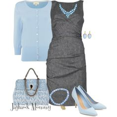 A fashion look from January 2015 featuring gray sheath dress, 3/4 sleeve cardigan and heels stilettos. Browse and shop related looks.