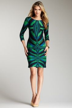 Taylor Color Craze 3/4 Length Sleeve Dress