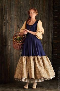 """Купить Платье в бохо-стиле """"Delft porcelain"""" - синий, цветочный, бохо, бохо-стиль"""