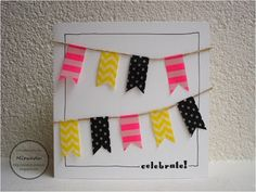 Washi tape card Inspiration: white card with Hema washi tape flags by Miranda's Creaties.