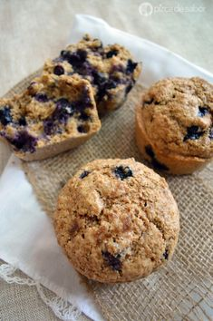 Muffins integrales de moras azules – blueberries www.pizcadesabor.com