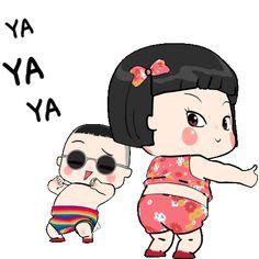 Khing Khing and Mhoo Deng Cartoon Girl Images, Cute Cartoon Pictures, Cute Cartoon Girl, Cute Love Cartoons, Cute Funny Baby Videos, Cute Funny Babies, Videos Funny, Cute Love Pictures, Cute Love Gif