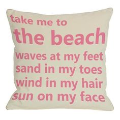 One Bella Casa Take Me To The Beach Indoor/Outdoor Throw Pillow