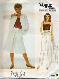 Vogue 2923 1980s Misses CULOTTEs Pants Camisole Jacket Pattern