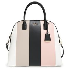 kate spade new york 'violet drive - mega maise' stripe leather satchel ($498) ❤ liked on Polyvore featuring bags, handbags, multi stripe, pink satchel handbags, kate spade purses, leather satchel purse, satchel handbags and genuine leather purse