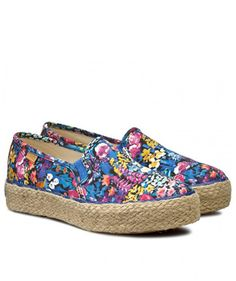 Espadrile dama inflorate cu talpa groasa Keds, Espadrilles, Flats, Blue, Shoes, Fashion, Espadrilles Outfit, Loafers & Slip Ons, Moda