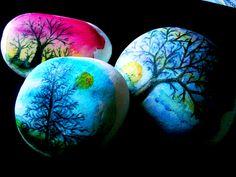 alberi, acquerelli su pietra