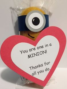 A Twinkie Minion made using Stampin' Up Supplies. Great Valentine treat for teachers. A Craftin' Owl creation.