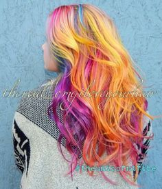 Yellow pink rainbow dyed hair
