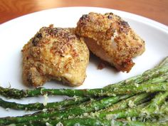 Honey Baked Chicken Thighs with Parmesan Crusted Asparagus