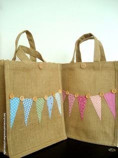 Medium Jute Bag with Pink Bunting Lunch Bag by BerryNiceCushions