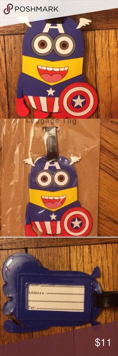 "🆕 Captain America Minion Luggage Tag You'll marvel in amazement at the Minion Avenger. Nameplate on back. Approximately 6.5"" H including strap. Colors are red, blue, black and yellow. Other character luggage tags available in my closet. Please ask if you have questions. Comic book. Cartoon. Cosplay. Accessories"
