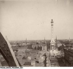 Aerial view of the Indiana State Soldiers and Sailors Monument Under Construction, ca. 1892 :: Assorted Images from IHS Collections