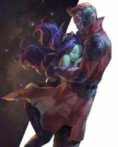 Quill and Gamora #Starlord #Gamora #marvel #emojianime