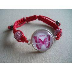 Bracelet personnalisé, fil rouge perles roses