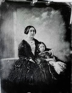 1845 daguerreotype of Queen Victoria (1819-1901), seated on the left alongside her daughter, Empress Friedrich (1840-1901), when Victoria, Princess Royal.
