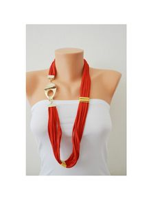RED Jersey Fabric Noodle Stripes Necklace with gold plated elements - Eco Friendly Jewlery