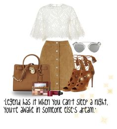 """LEGEND"" by zafirahx ❤ liked on Polyvore featuring Oscar de la Renta, Warehouse, Aquazzura, Michael Kors, Too Faced Cosmetics, Christian Dior, Bourjois, outfit, suede and inspiration"