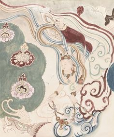 FRESCO COPY FROM THE CAVE NO.158 IN DUNHUANG Artist: Yimeian  Size: 81×62 cm,75×63 cm Mounted for framing; ink and colour on paper