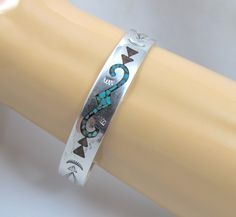 Navajo Sterling Turquoise Cuff Bracelet, Tommy Singer Style, Coral Turquoise Chip Inlay, Hallmarked Signed Native American Vintage Jewelry