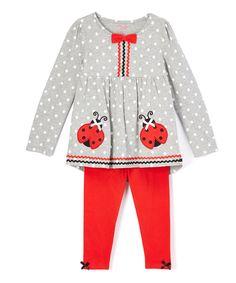 Gray & Red Ladybug Tunic & Leggings - Infant, Toddler & Girls