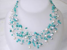 Turquoise Necklace Silver Real Pearls Nautical Wire Wrapped Modern December birthstone, Unique jewelry Beach Summer Wedding. $116.00, via Etsy.