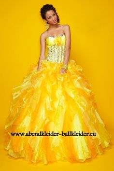 Gala Abendkleid Ballkleid in Gelb
