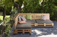 Cushion for Pallet Garden Furniture - Grey - buy online Outdoor Pallet Seating, Deck Seating, Pallet Furniture Designs, Pallet Garden Furniture, Pallets Garden, Furniture Ideas, Pallet Exterior, Indoor Outdoor, Outdoor Decor