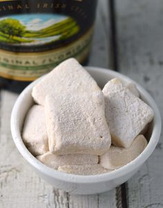 Homemade Baileys marshmallows are a perfect match for hot chocolate or grown up s'mores!