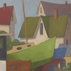 DAVID WITBECK - Village Boatyard - oil on panel