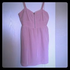 Adorable light pink spring/summer dress! Forever 21 light pink spring/summer dress, adjustable straps, zip up in the front, laced material on the bottom and top, very comfortable! Forever 21 Dresses Midi