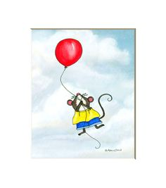 Cute Mouse print mouseballoon wall art for by HamiltonArtandDesign