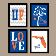 University Of Florida College Go Gators Custom Family Monogram Initial  State LOVE Bird Tree Wedding Date Set Of 4 Prints Wall Decor ART