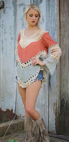 Crochet Panel Beach Tunic Cover Up Top 30s Fashion, Boho Fashion, Womens Fashion, Music Festival Fashion, Festival Style, Hairpin Lace, Bohemian Style, Crochet Top, 80s Style