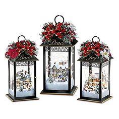 Thomas Kinkade Always in Bloom Light Up Lantern Table Centerpiece Collection