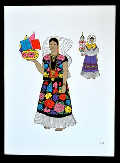 """https://flic.kr/p/dsLLfF   Tehuanas Oaxaca Mexico   Two lovely Zapotec women from the Istmo of Tehuantepec appear in this artwork by Teresa Castello Yturbide.  This work is part of a portfolio entitled """"El Traje Indigena en Mexico.""""  The woman in the rear is wearing the child's dress in a different manner.  She wears the lace around the neckline of the dress to frame her face. You can see one of the sleeves of the little dress hanging down the woman's chest."""